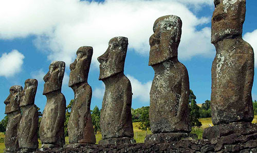 Photo of the Akivi head sculptures on Easter Island