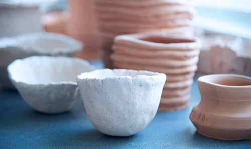 Image of pottery cups and bowls